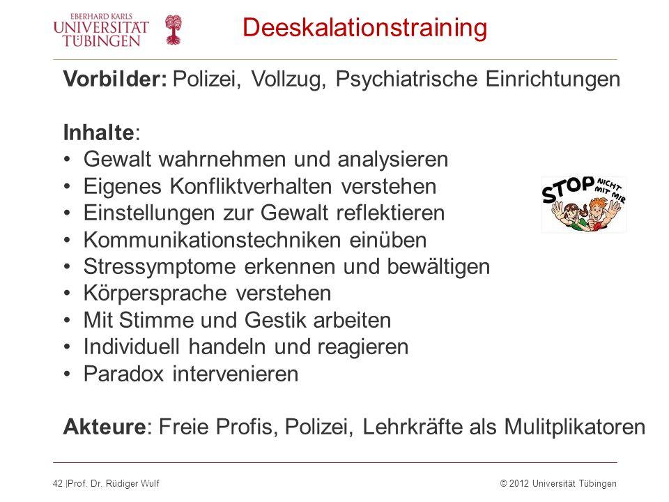 42  Prof. Dr. Rüdiger Wulf© 2012 Universität Tübingen Deeskalationstraining Vorbilder: Polizei, Vollzug, Psychiatrische Einrichtungen Inhalte: Gewalt
