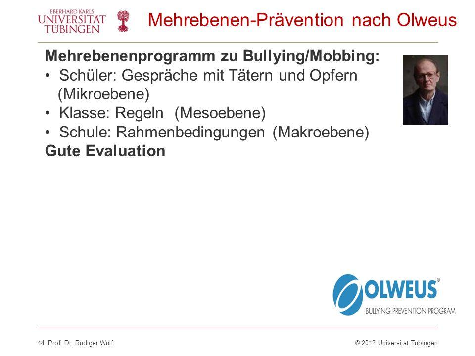 44  Prof. Dr. Rüdiger Wulf© 2012 Universität Tübingen Mehrebenen-Prävention nach Olweus Mehrebenenprogramm zu Bullying/Mobbing: Schüler: Gespräche mit