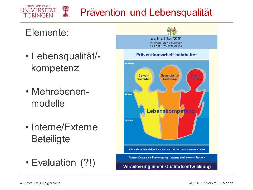 46  Prof. Dr. Rüdiger Wulf© 2012 Universität Tübingen Prävention und Lebensqualität Elemente: Lebensqualität/- kompetenz Mehrebenen- modelle Interne/E