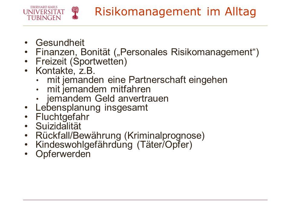 Risikomanagement im Alltag Gesundheit Finanzen, Bonität (Personales Risikomanagement) Freizeit (Sportwetten) Kontakte, z.B. mit jemanden eine Partners