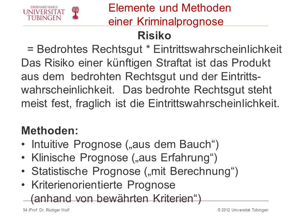54  Prof. Dr. Rüdiger Wulf© 2012 Universität Tübingen Elemente und Methoden einer Kriminalprognose Risiko = Bedrohtes Rechtsgut * Eintrittswahrscheinl