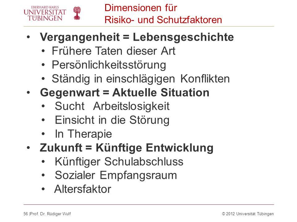 56  Prof. Dr. Rüdiger Wulf© 2012 Universität Tübingen Dimensionen für Risiko- und Schutzfaktoren Vergangenheit = Lebensgeschichte Frühere Taten dieser