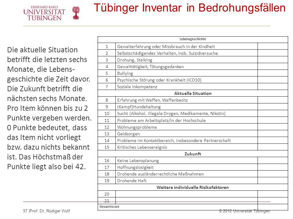 57  Prof. Dr. Rüdiger Wulf© 2012 Universität Tübingen Tübinger Inventar in Bedrohungsfällen Lebensgeschichte 1Gewalterfahrung oder Missbrauch in der K