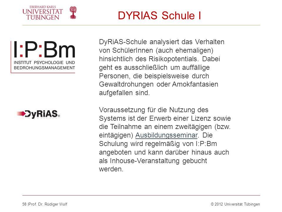 58  Prof. Dr. Rüdiger Wulf© 2012 Universität Tübingen DYRIAS Schule I DyRiAS-Schule analysiert das Verhalten von SchülerInnen (auch ehemaligen) hinsic