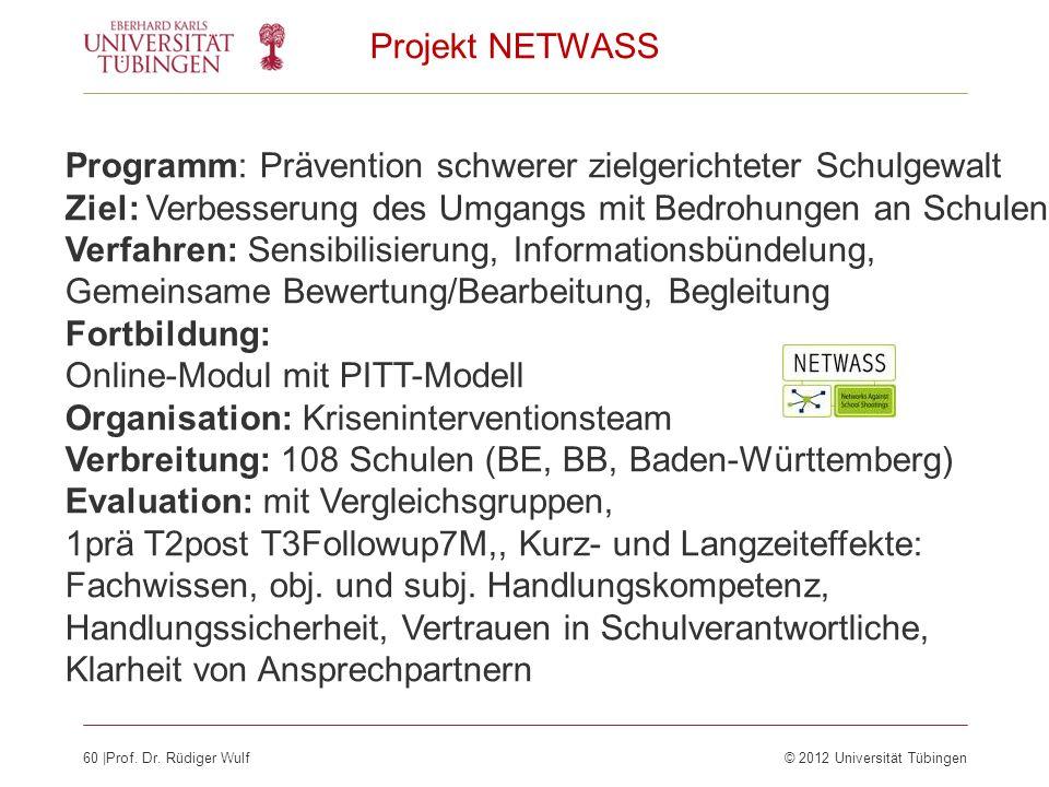 60  Prof. Dr. Rüdiger Wulf© 2012 Universität Tübingen Projekt NETWASS Programm: Prävention schwerer zielgerichteter Schulgewalt Ziel: Verbesserung des