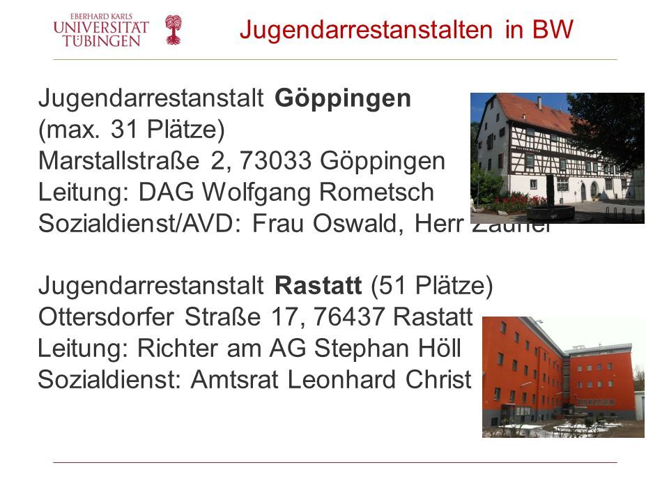 Jugendarrestanstalten in BW Jugendarrestanstalt Göppingen (max. 31 Plätze) Marstallstraße 2, 73033 Göppingen Leitung: DAG Wolfgang Rometsch Sozialdien