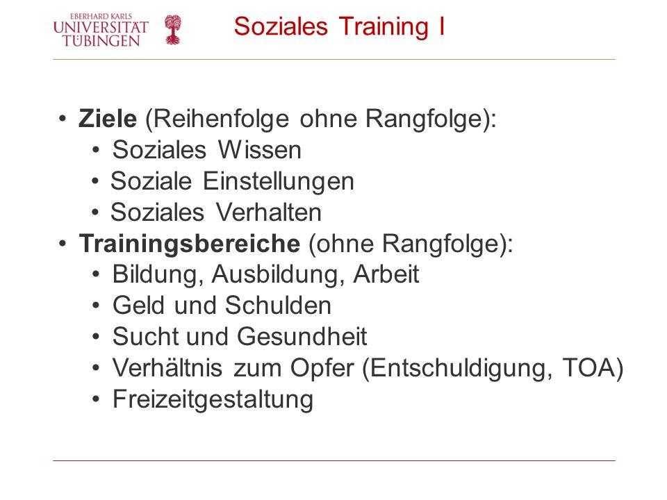 Soziales Training I Ziele (Reihenfolge ohne Rangfolge): Soziales Wissen Soziale Einstellungen Soziales Verhalten Trainingsbereiche (ohne Rangfolge): B