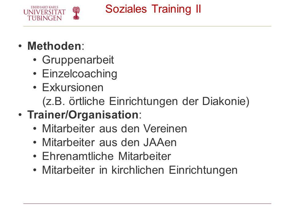 Soziales Training II Methoden: Gruppenarbeit Einzelcoaching Exkursionen (z.B. örtliche Einrichtungen der Diakonie) Trainer/Organisation: Mitarbeiter a