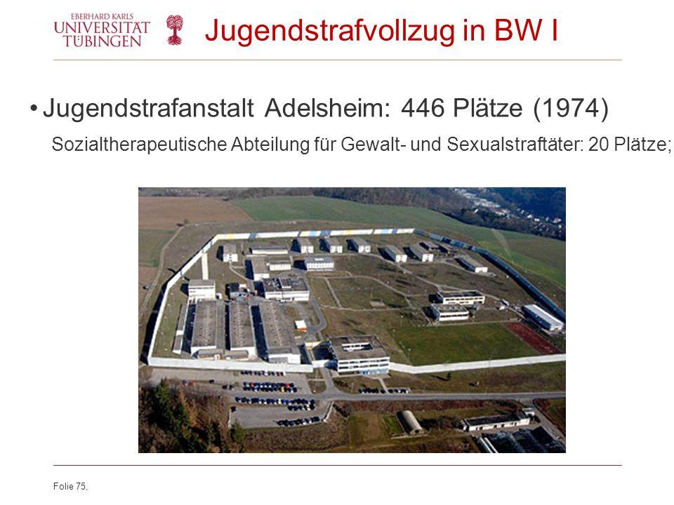 Folie 75, Jugendstrafvollzug in BW I Jugendstrafanstalt Adelsheim: 446 Plätze (1974) Sozialtherapeutische Abteilung für Gewalt- und Sexualstraftäter: