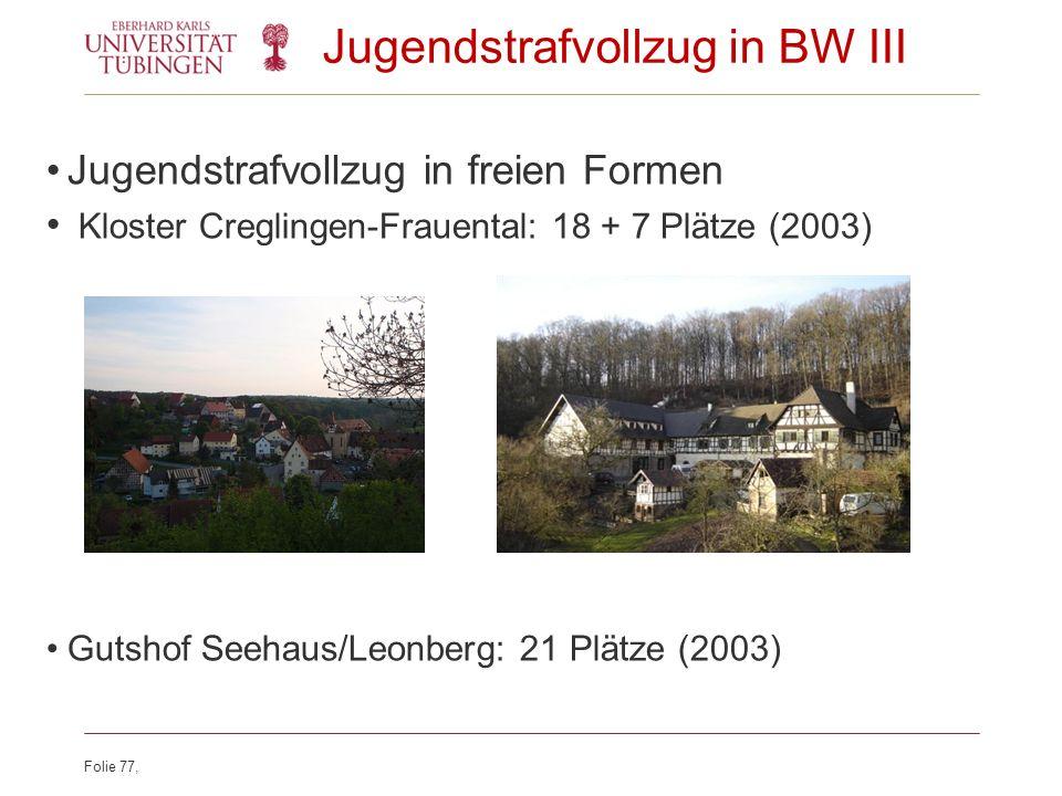 Folie 77, Jugendstrafvollzug in BW III Jugendstrafvollzug in freien Formen Kloster Creglingen-Frauental: 18 + 7 Plätze (2003) Gutshof Seehaus/Leonberg