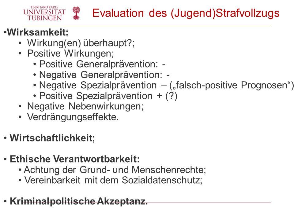Evaluation des (Jugend)Strafvollzugs Wirksamkeit: Wirkung(en) überhaupt?; Positive Wirkungen; Positive Generalprävention: - Negative Generalprävention