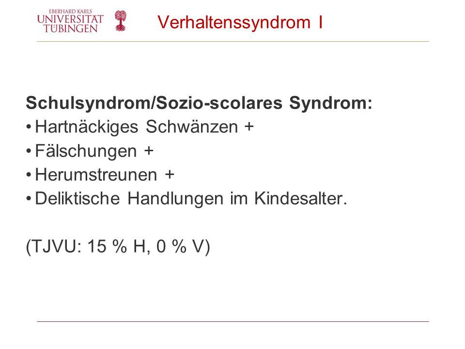 Verhaltenssyndrom I Schulsyndrom/Sozio-scolares Syndrom: Hartnäckiges Schwänzen + Fälschungen + Herumstreunen + Deliktische Handlungen im Kindesalter.