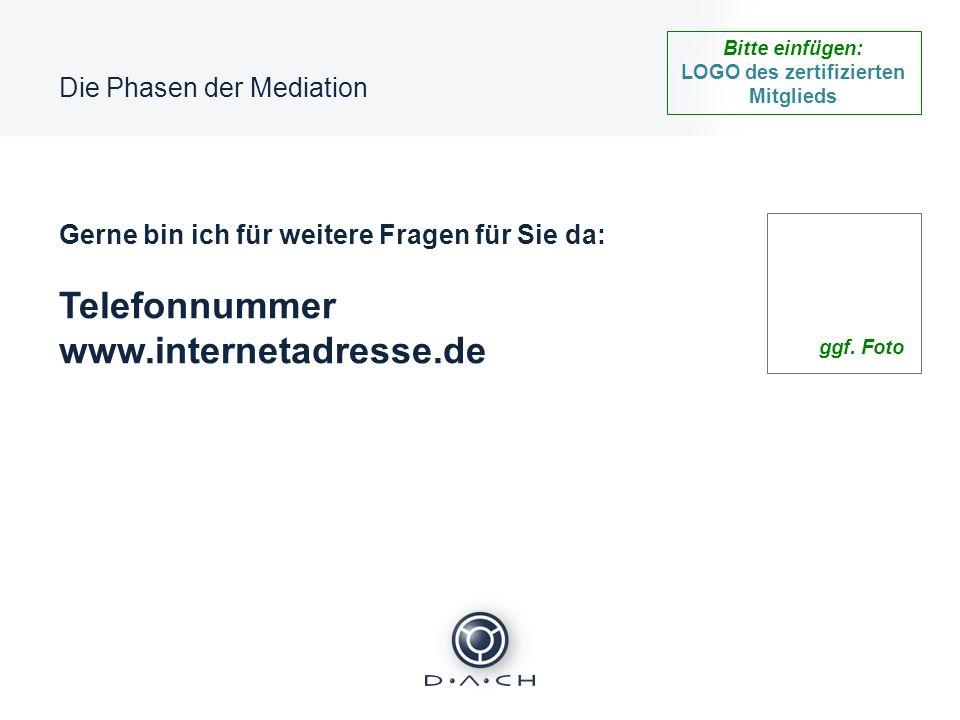 Bitte einfügen: LOGO des zertifizierten Mitglieds Die Phasen der Mediation Gerne bin ich für weitere Fragen für Sie da: Telefonnummer www.internetadre
