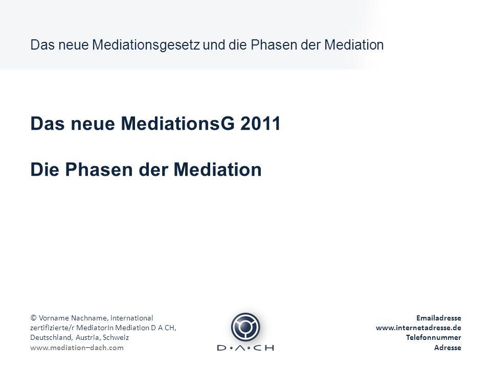 Das neue Mediationsgesetz und die Phasen der Mediation © Vorname Nachname, international zertifizierte/r MediatorIn Mediation D A CH, Deutschland, Aus