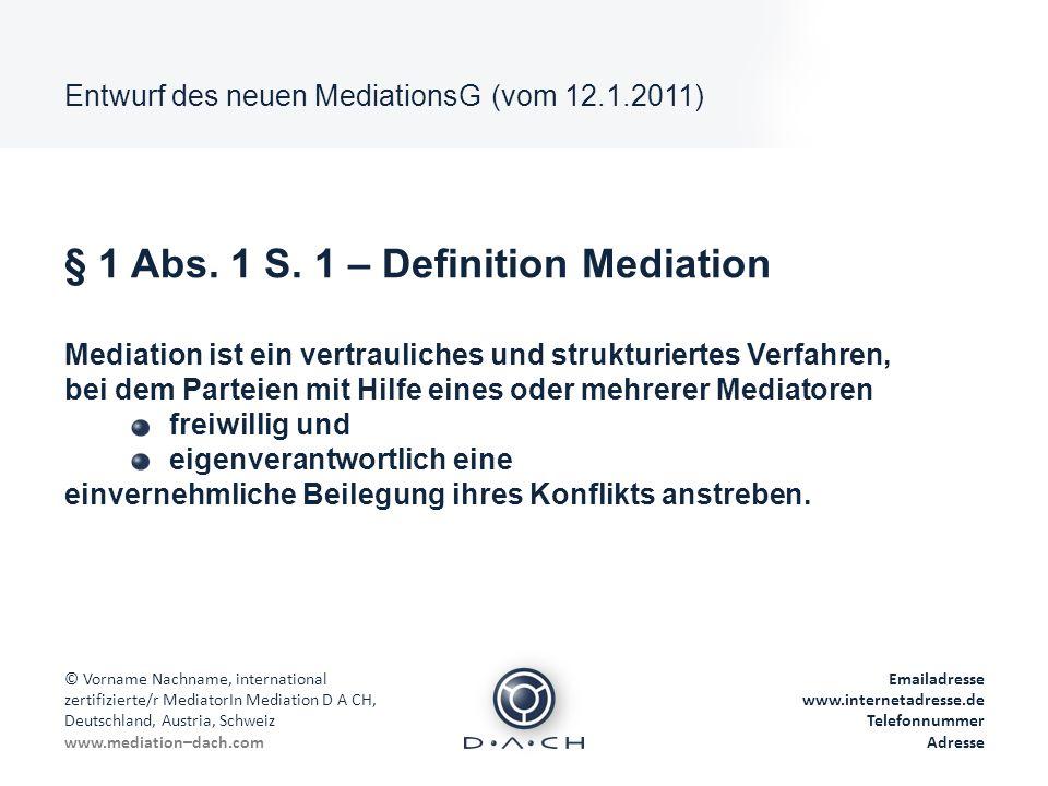© Vorname Nachname, international zertifizierte/r MediatorIn Mediation D A CH, Deutschland, Austria, Schweiz www.mediation–dach.com Emailadresse www.i