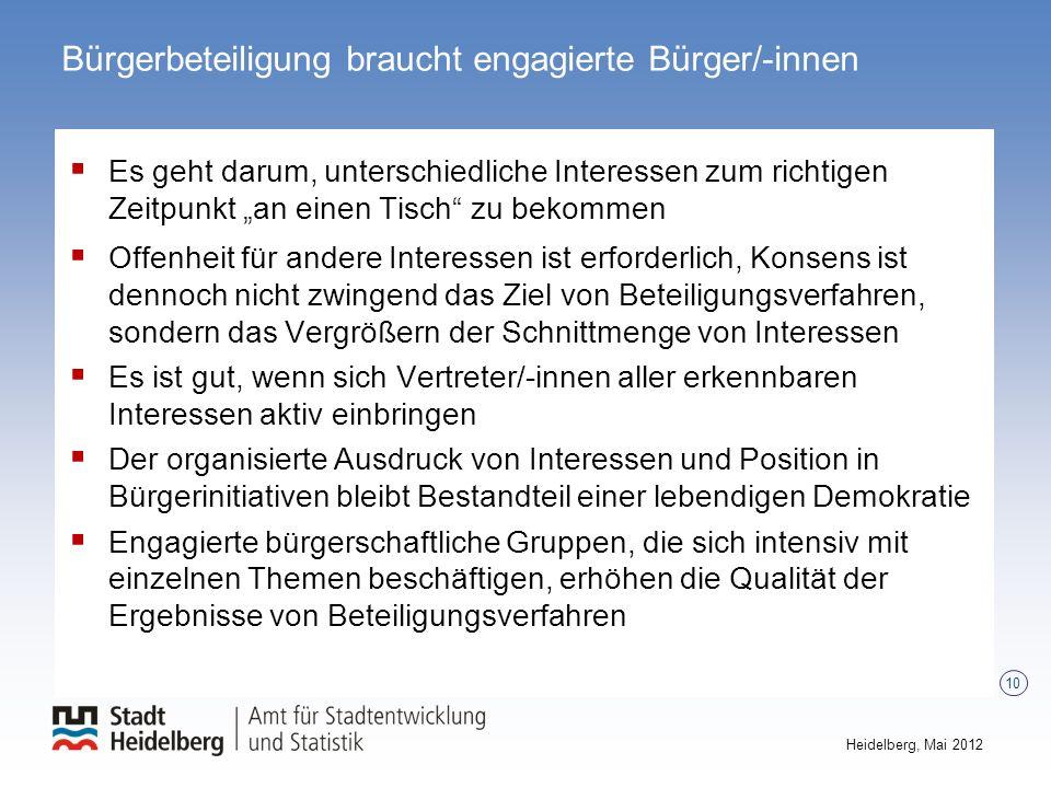 10 Heidelberg, Mai 2012 Bürgerbeteiligung braucht engagierte Bürger/-innen Es geht darum, unterschiedliche Interessen zum richtigen Zeitpunkt an einen