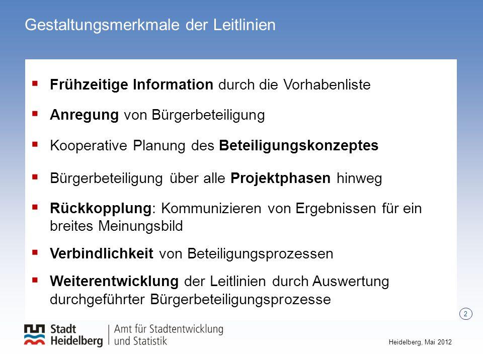 2 Heidelberg, Mai 2012 Gestaltungsmerkmale der Leitlinien Frühzeitige Information durch die Vorhabenliste Anregung von Bürgerbeteiligung Kooperative P