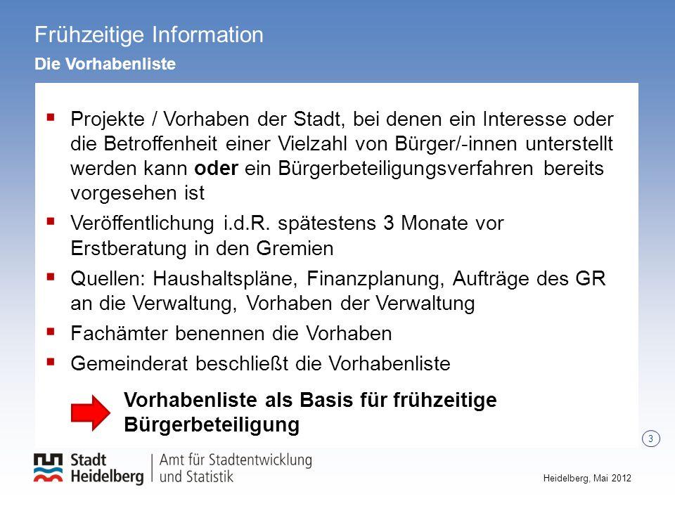 3 Heidelberg, Mai 2012 Frühzeitige Information Die Vorhabenliste Projekte / Vorhaben der Stadt, bei denen ein Interesse oder die Betroffenheit einer V