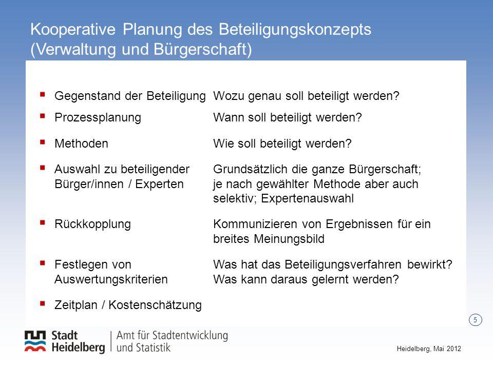 5 Heidelberg, Mai 2012 Kooperative Planung des Beteiligungskonzepts (Verwaltung und Bürgerschaft) Prüfung & Beschluss Beratung & Beschluss Gegenstand
