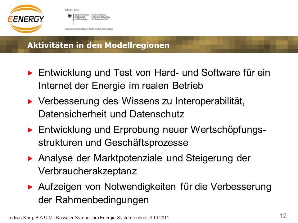 12 Ludwig Karg, B.A.U.M., Kasseler Symposium Energie-Systemtechnik, 6.10.2011 Aktivitäten in den Modellregionen Entwicklung und Test von Hard- und Sof