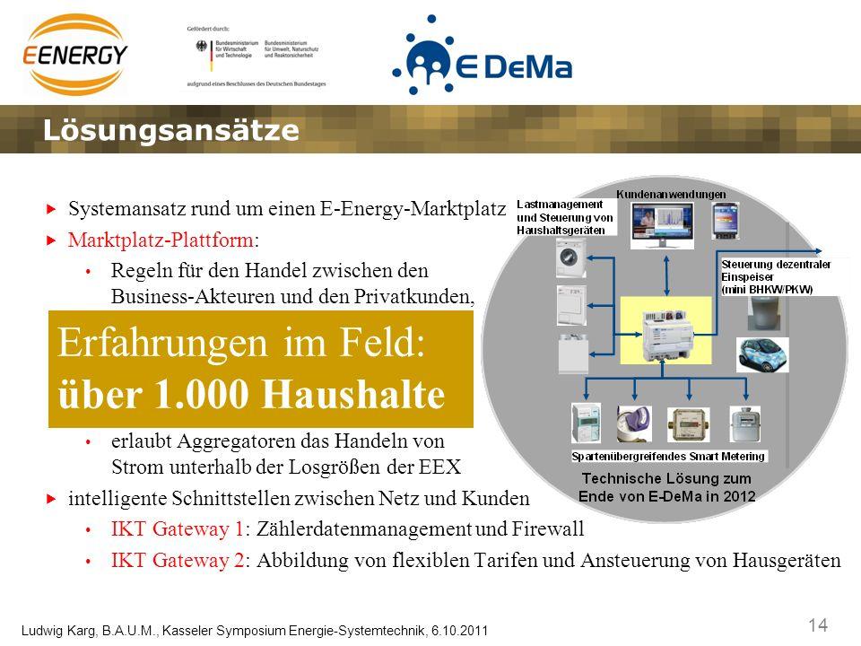 14 Ludwig Karg, B.A.U.M., Kasseler Symposium Energie-Systemtechnik, 6.10.2011 Systemansatz rund um einen E-Energy-Marktplatz Marktplatz-Plattform: Reg