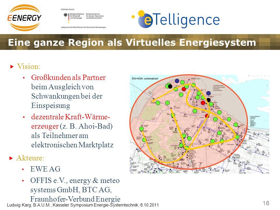 16 Ludwig Karg, B.A.U.M., Kasseler Symposium Energie-Systemtechnik, 6.10.2011 Eine ganze Region als Virtuelles Energiesystem Vision: Großkunden als Pa
