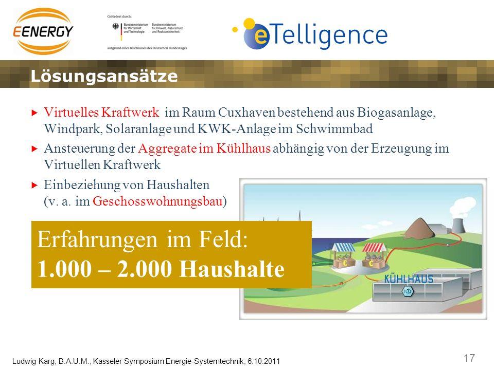 17 Ludwig Karg, B.A.U.M., Kasseler Symposium Energie-Systemtechnik, 6.10.2011 Virtuelles Kraftwerk im Raum Cuxhaven bestehend aus Biogasanlage, Windpa