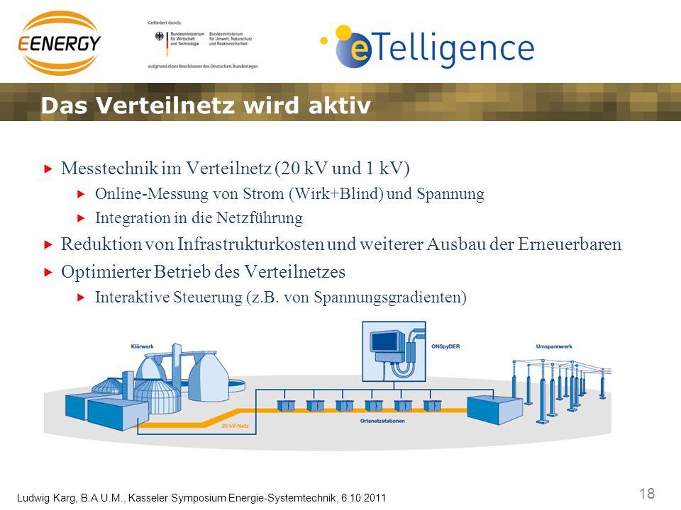 18 Ludwig Karg, B.A.U.M., Kasseler Symposium Energie-Systemtechnik, 6.10.2011 Messtechnik im Verteilnetz (20 kV und 1 kV) Online-Messung von Strom (Wi