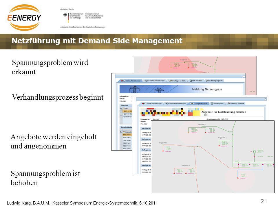 21 Ludwig Karg, B.A.U.M., Kasseler Symposium Energie-Systemtechnik, 6.10.2011 Netzführung mit Demand Side Management Spannungsproblem wird erkannt Ver