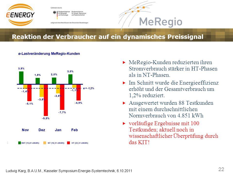 22 Ludwig Karg, B.A.U.M., Kasseler Symposium Energie-Systemtechnik, 6.10.2011 MeRegio-Kunden reduzierten ihren Stromverbrauch stärker in HT-Phasen als