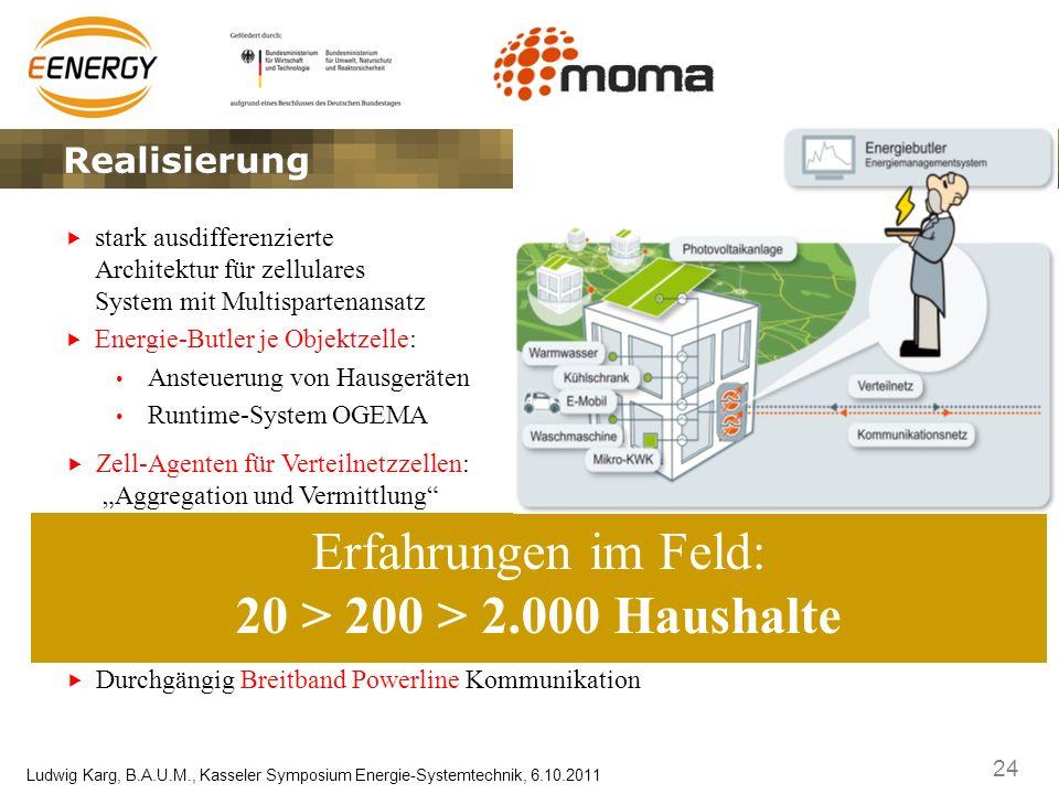 24 Ludwig Karg, B.A.U.M., Kasseler Symposium Energie-Systemtechnik, 6.10.2011 stark ausdifferenzierte Architektur für zellulares System mit Multispart