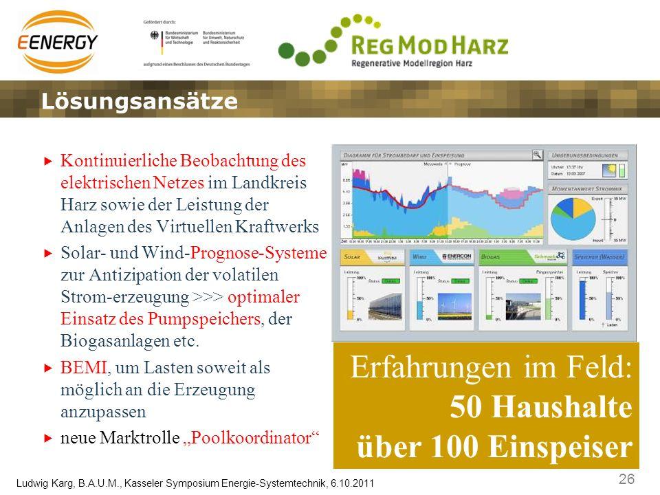 26 Ludwig Karg, B.A.U.M., Kasseler Symposium Energie-Systemtechnik, 6.10.2011 Kontinuierliche Beobachtung des elektrischen Netzes im Landkreis Harz so