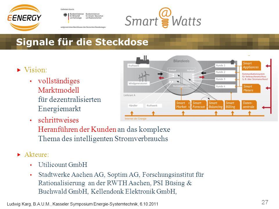 27 Ludwig Karg, B.A.U.M., Kasseler Symposium Energie-Systemtechnik, 6.10.2011 Signale für die Steckdose Vision: vollständiges Marktmodell für dezentra