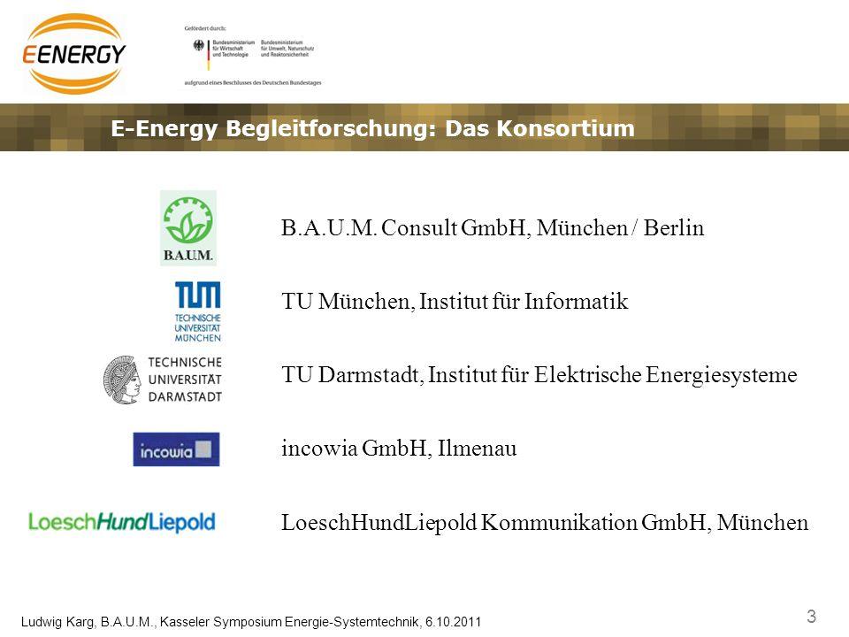 3 Ludwig Karg, B.A.U.M., Kasseler Symposium Energie-Systemtechnik, 6.10.2011 E-Energy Begleitforschung: Das Konsortium B.A.U.M. Consult GmbH, München