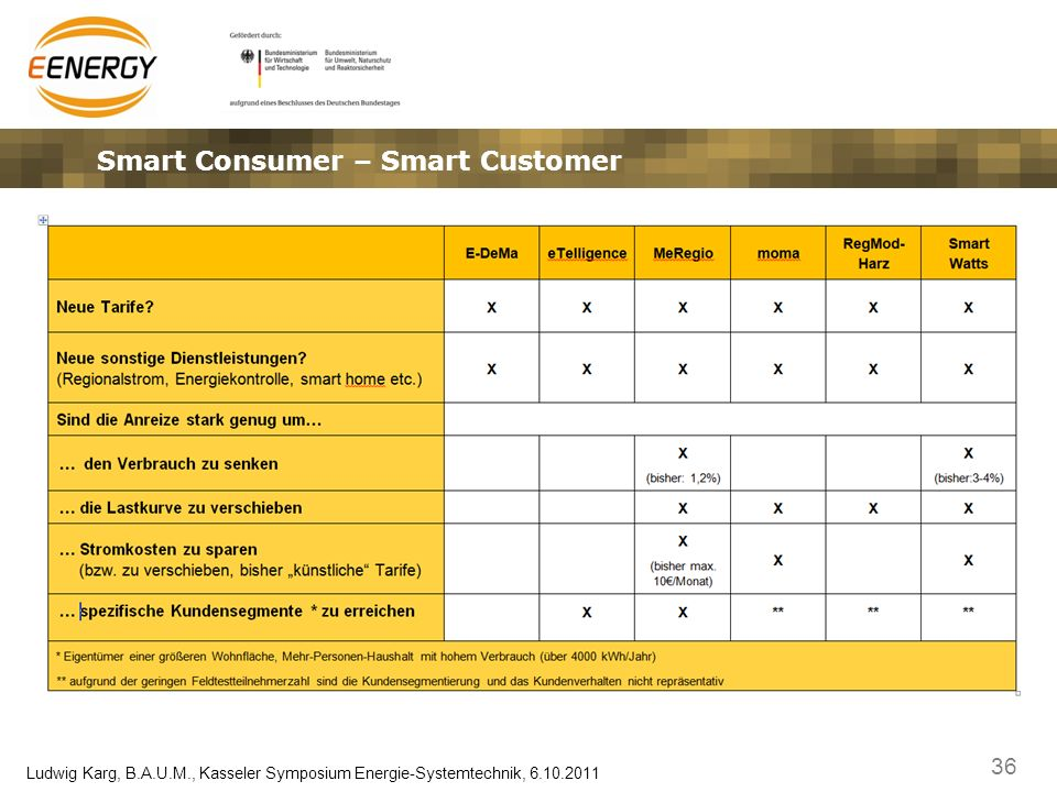 36 Ludwig Karg, B.A.U.M., Kasseler Symposium Energie-Systemtechnik, 6.10.2011 Smart Consumer – Smart Customer