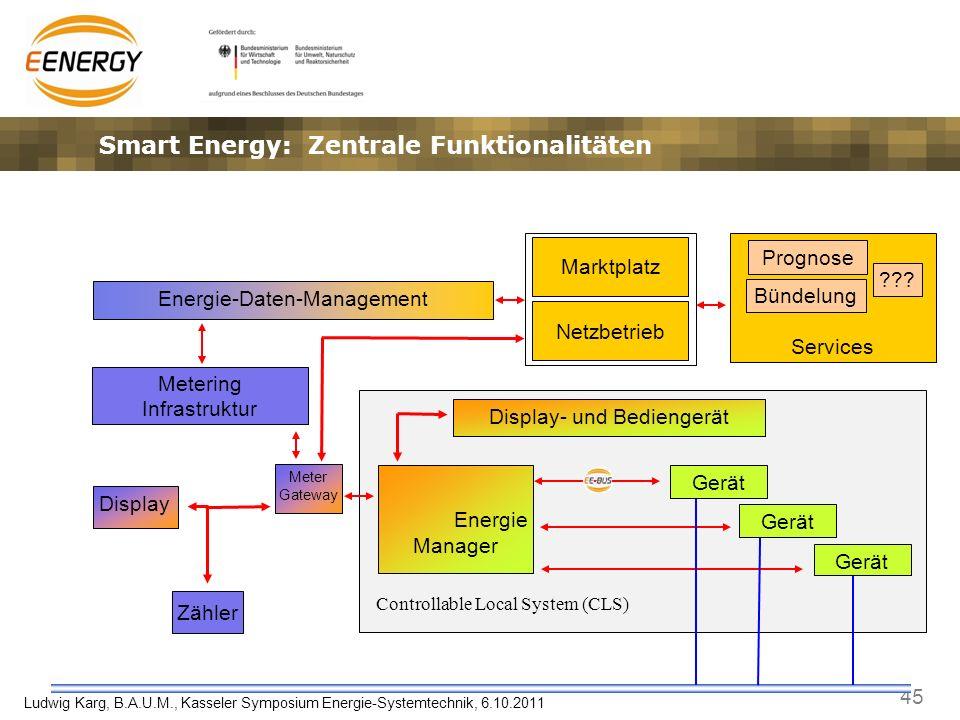 45 Ludwig Karg, B.A.U.M., Kasseler Symposium Energie-Systemtechnik, 6.10.2011 Services Energie Manager Smart Energy: Zentrale Funktionalitäten Zähler