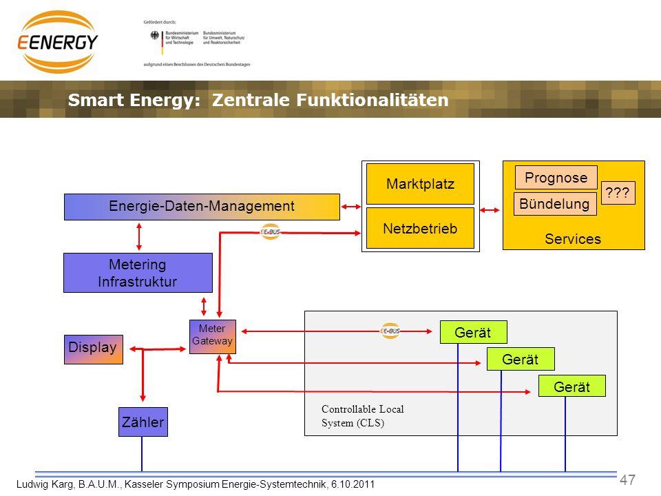 47 Ludwig Karg, B.A.U.M., Kasseler Symposium Energie-Systemtechnik, 6.10.2011 Services Zähler Prognose Energie-Daten-Management Metering Infrastruktur