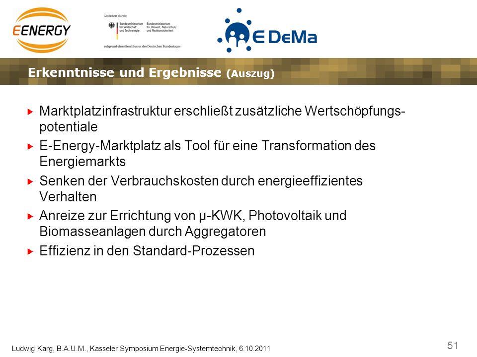 51 Ludwig Karg, B.A.U.M., Kasseler Symposium Energie-Systemtechnik, 6.10.2011 Lösungsansätze – Marktplatz und Gateway – die Vision Erkenntnisse und Er