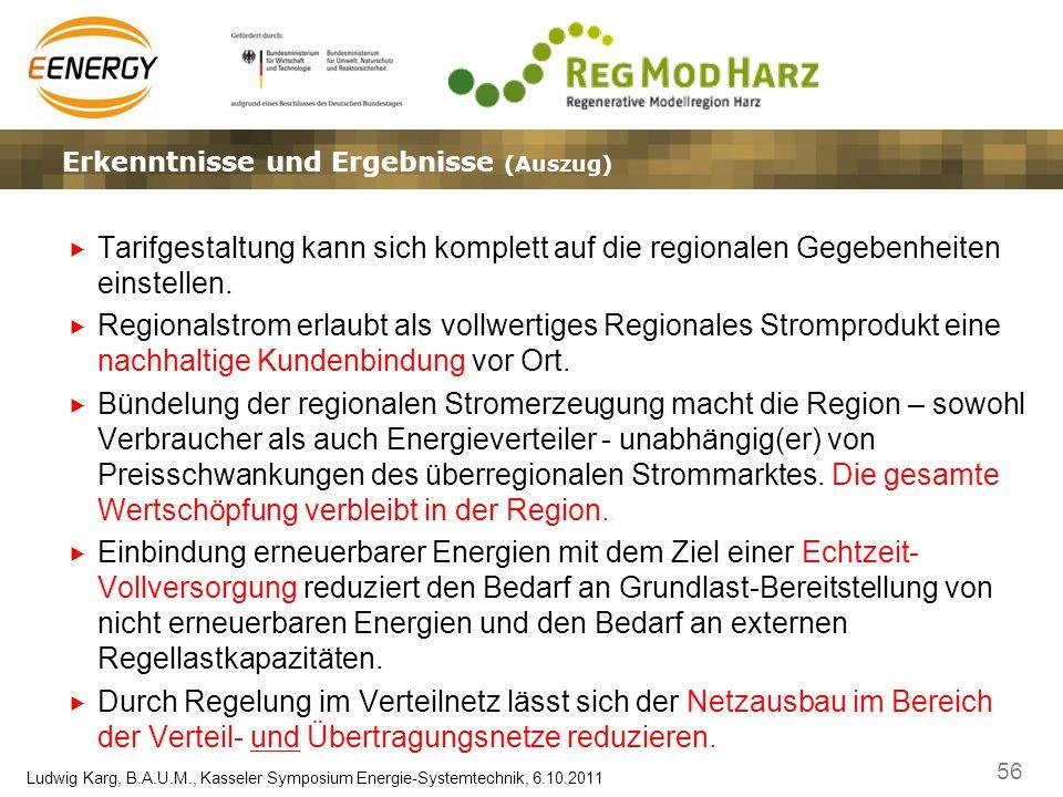 56 Ludwig Karg, B.A.U.M., Kasseler Symposium Energie-Systemtechnik, 6.10.2011 Ergebnisse, Erkenntnisse und EffekteLösungsansätze – Marktplatz und Gate