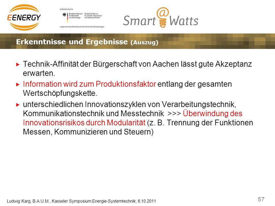 57 Ludwig Karg, B.A.U.M., Kasseler Symposium Energie-Systemtechnik, 6.10.2011 Ergebnisse, Erkenntnisse und EffekteLösungsansätze – Marktplatz und Gate