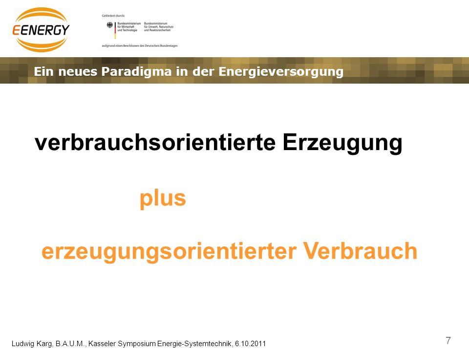7 Ludwig Karg, B.A.U.M., Kasseler Symposium Energie-Systemtechnik, 6.10.2011 Ein neues Paradigma in der Energieversorgung verbrauchsorientierte Erzeug