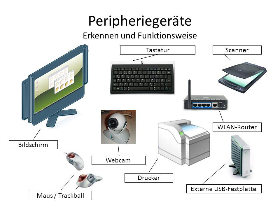 Peripheriegeräte Tastatur Mittels einer elektronischen Matrix, die sich unterhalb der Tasten befindet, werden die Kontakte bei gedrückten Tasten ausgelesen und die Tastencodes über den Controller an den PC geschickt!