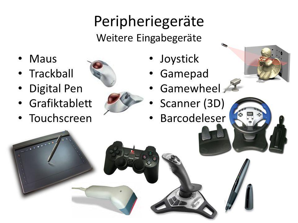 Peripheriegeräte Weitere Eingabegeräte Maus Trackball Digital Pen Grafiktablett Touchscreen Joystick Gamepad Gamewheel Scanner (3D) Barcodeleser