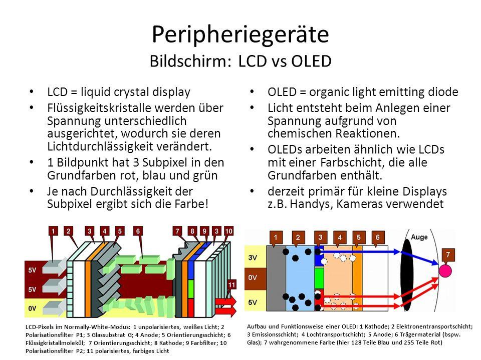 Peripheriegeräte Bildschirm: LCD vs OLED LCD = liquid crystal display Flüssigkeitskristalle werden über Spannung unterschiedlich ausgerichtet, wodurch