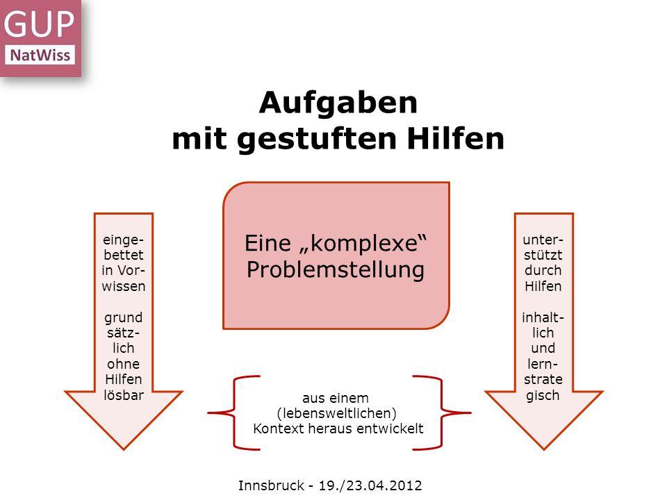 Aufgaben mit gestuften Hilfen Innsbruck - 19./23.04.2012 Eine komplexe Problemstellung aus einem (lebensweltlichen) Kontext heraus entwickelt einge- b