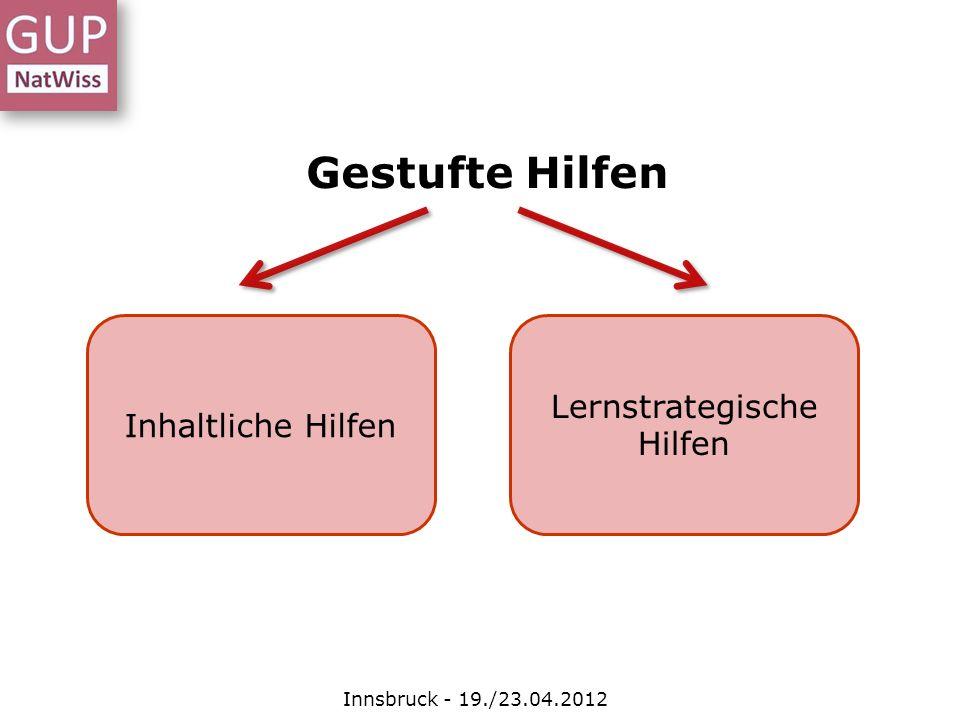 Gestufte Hilfen Innsbruck - 19./23.04.2012 Inhaltliche Hilfen Lernstrategische Hilfen