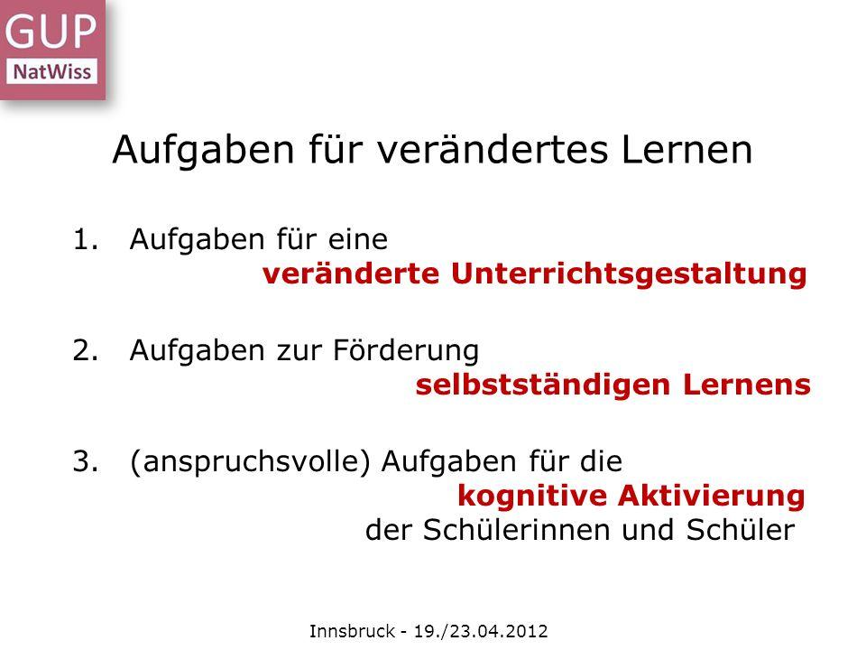 Aufgaben für verändertes Lernen Innsbruck - 19./23.04.2012 1.Aufgaben für eine veränderte Unterrichtsgestaltung 2.Aufgaben zur Förderung selbstständig