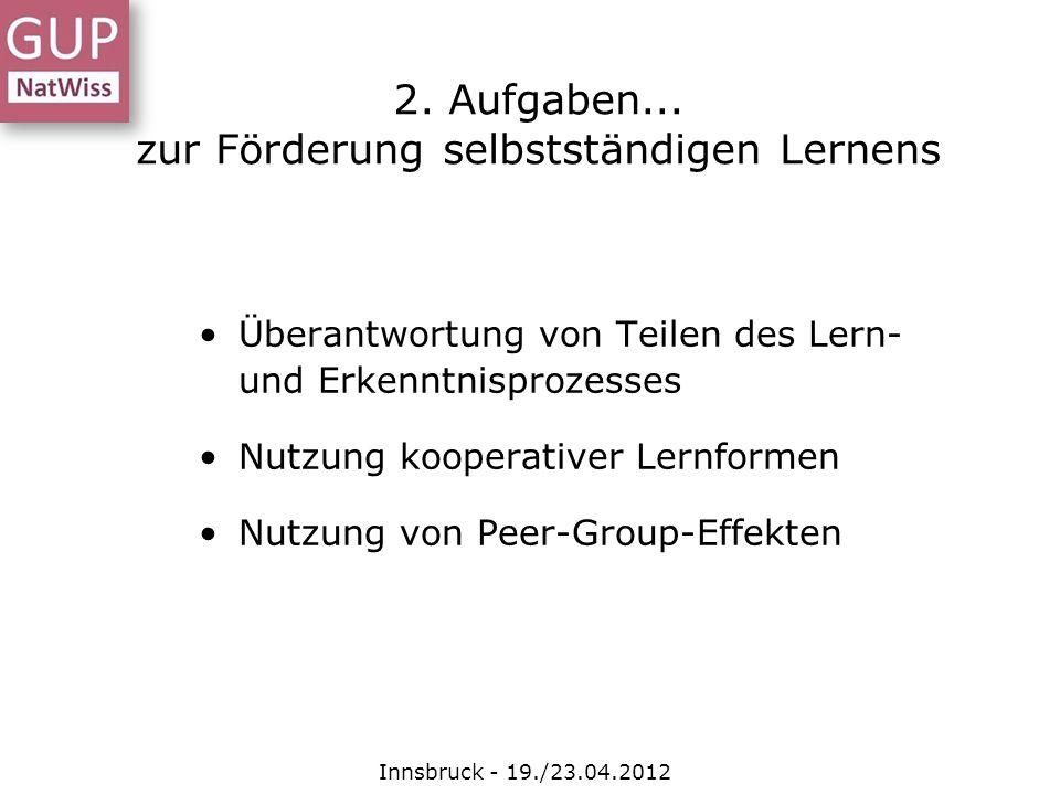 Überantwortung von Teilen des Lern- und Erkenntnisprozesses Nutzung kooperativer Lernformen Nutzung von Peer-Group-Effekten 2. Aufgaben... zur Förderu