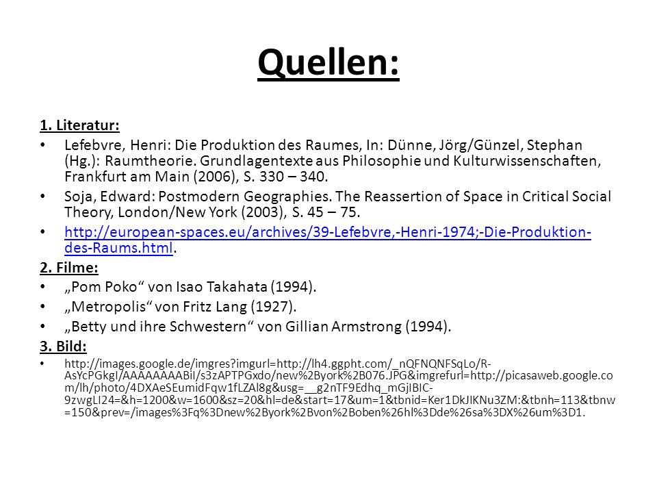 Quellen: 1. Literatur: Lefebvre, Henri: Die Produktion des Raumes, In: Dünne, Jörg/Günzel, Stephan (Hg.): Raumtheorie. Grundlagentexte aus Philosophie