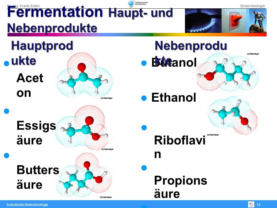 Dr.-Ing. Frank Eiden Biotechnologie Industrielle Biotechnologie: 13 Butanol Ethanol Riboflavi n Propions äure Isovaleri nsäure Valerinsä ure Hexansä u